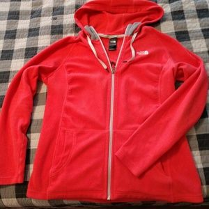 North Face red front zip plush hoodie L